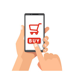 smartphone with shopping cart on a screen vector image