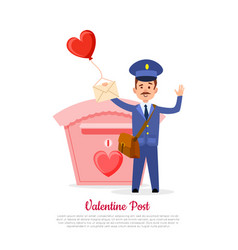 valentine post and mailman with heart balloon vector image