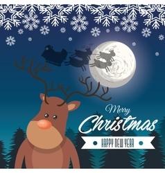 card merry christmas reindeer santa flying sleigh vector image vector image