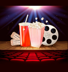 cinema supplies on a wooden stage - drink vector image vector image