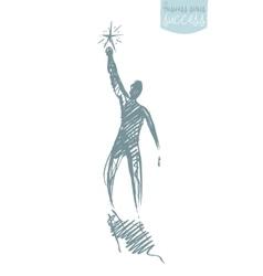 Drawn person star leadership concept sketch vector image vector image