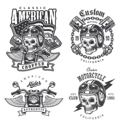 Set of Vintage motorcycle t-shirt prints vector image vector image