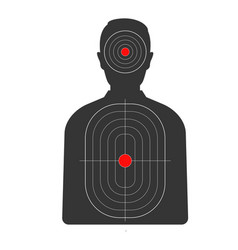 target with red spots on human black silhouette vector image