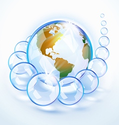 bubbled earth America vector image vector image