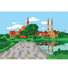 Cartoon park near the lake vector image