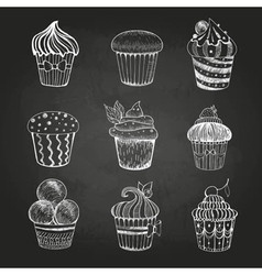 Chalk drawing Set of cakes vector image