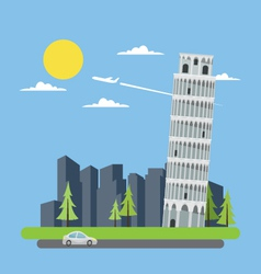 Flat design leaning tower of Pisa vector image vector image