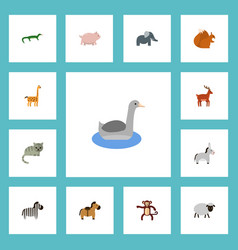 flat icons swine camelopard chipmunk and other vector image vector image