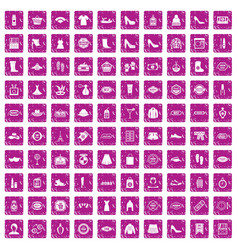 100 woman shopping icons set grunge pink vector