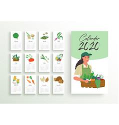 2020 year farmer market calendar planner template vector