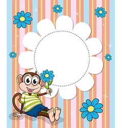 A stationery with blue flowers and a monkey vector