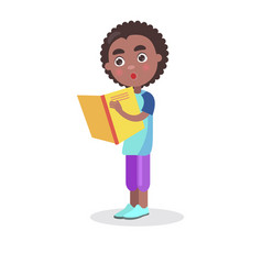 African smiling boy with textbook stands and reads vector