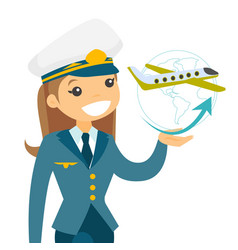 Airplane captain in pilot hat vector