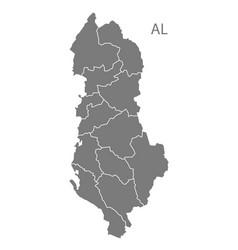 Albania regions map grey vector
