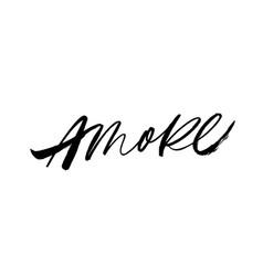 Amore handwritten ink brush lettering vector