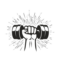 arm with dumbbell gym club fitness logo vector image