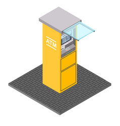atm machines in isometric style bank vector image