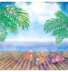 Beach and wood planks floor background vector image