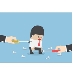 Big hand trying to repair businessman by tightenin vector image