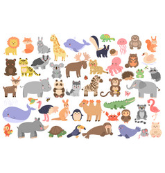 Big set cute animals in cartoon style isolated vector