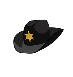 Black sheriff hat vector image