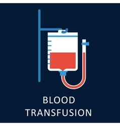 Blood transfusion flat icon with blood bag vector