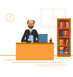 Boss in a suit working on a laptop computer vector