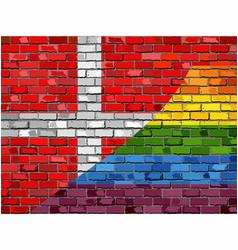 Brick wall denmark and gay flags vector