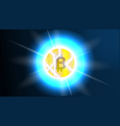 broken bitcoin bitcoin decline and crisis concept vector image