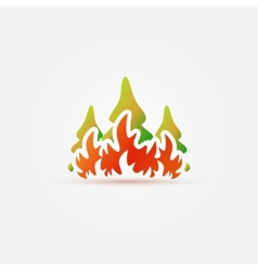Burning forest trees in fire flames icon vector