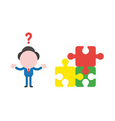 businessman character confused with three puzzle vector image