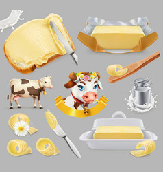 butter milk farm 3d realistic icon set vector image