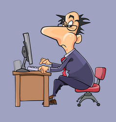 Cartoon man in suit and tie working at computer vector