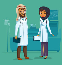 Cartoon man woman muslim arab doctors set vector