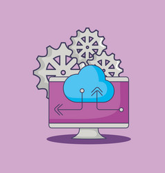 Computer cloud storage data gears innovation vector