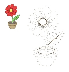 Connect dots to draw flower educational game vector