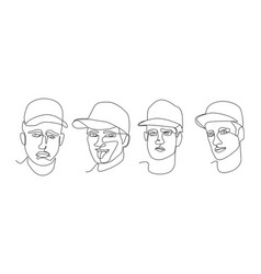 continuous line man portrait facial expression vector image