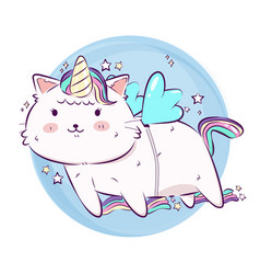 cute cartoon fantasy magic cat unicorn and flying vector image