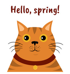 cute cartoon orange cat icon hello spring vector image
