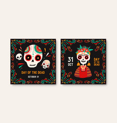 day dead greeting cards templates catrina vector image