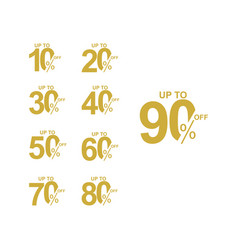 Discount label up to 90 off template design vector