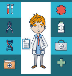 doctor with medical symbols vector image