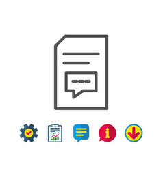 Document with comments line icon file sign vector