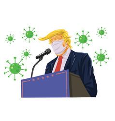 donald trump speech wearing anti coronavirus mask vector image