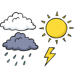 doodle weather icon set vector image