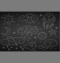doodle weather set hand drawn elements vector image