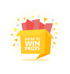 enter to win prizes gift box cartoon origami style vector image