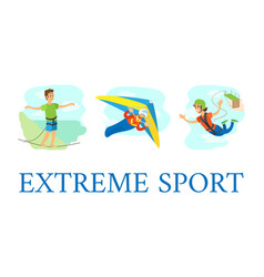 extreme sport hang gliding and highlining jumping vector image