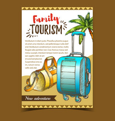 Family tourism luggage on advertise poster vector