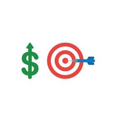 Flat design concept of dollar up with bulls eye vector